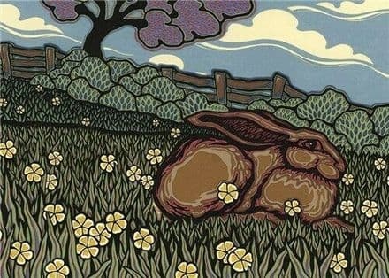 Spring Hare - Fine Art Blank Greeting / Birthday Card - Countryside Fields
